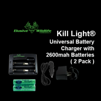 Kill Light® Universal Battery Charger with 2 Pack 2600mah Batteries