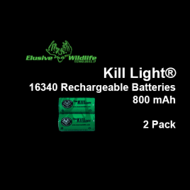 Kill Light® 16340 880mAh Rechargeable Batteries 2 pk