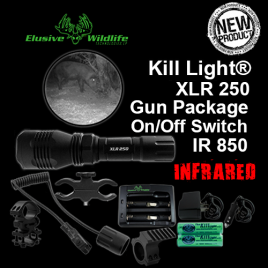 Kill Light® XLR 250 Gun Package, SINGLE MODE, ON/OFF Switch - IR 850/Infrared