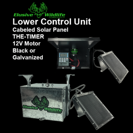 """Lower Control Unit - Box, 12 Volt Motor, """"THE TIMER"""" & Cabled Solar Panel"""