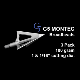 "G5® Montec™ Broadhead, 3 Pack, 1 & 1/16"", 100 grain"
