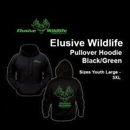 Elusive Wildlife Technologies Pullover Hoodie - Black/Intense Green