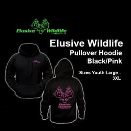 Elusive Wildlife Technologies Pullover Hoodie, Black/Pink