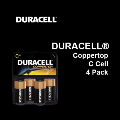 DURACELL® Coppertop Battery C Cell,  4 Pack