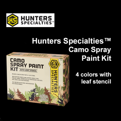 Hunters Specialties™ Spray Paint Camo Kit with Leaf Stencil- 4 Color: Marsh Grass, Mud Brown, Flat Black, Olive Drab